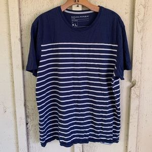 Banana Republic Striped Navy and White Shirt